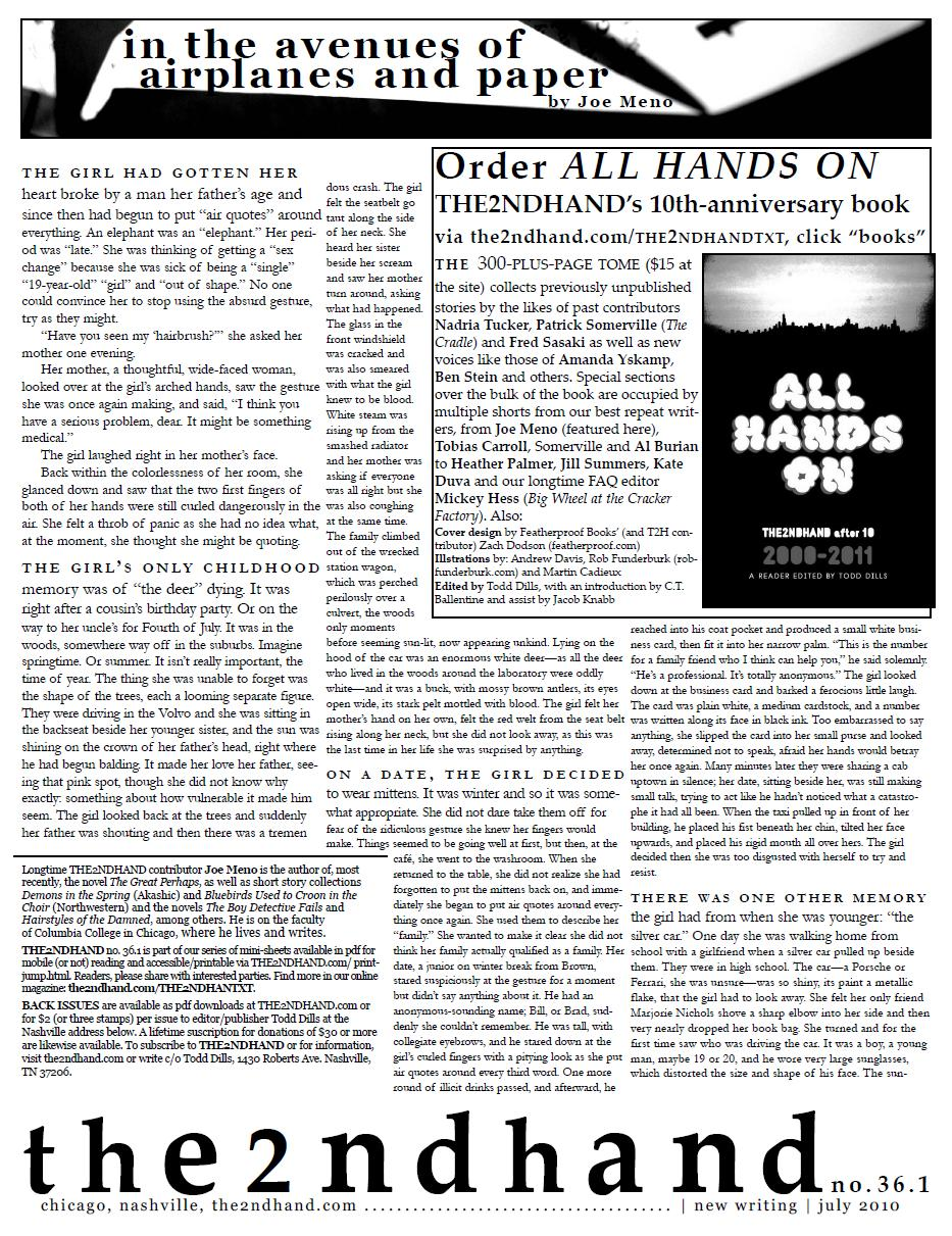 THE2NDHAND No. 36.1, featuring Joe Meno